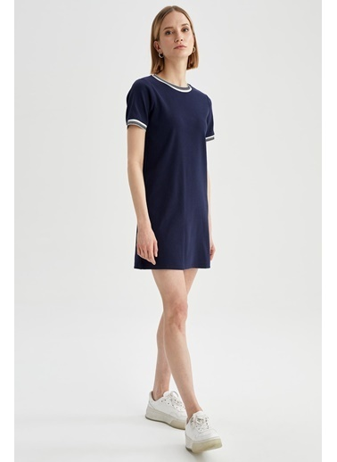 DeFacto Basic Tişört Elbise Lacivert